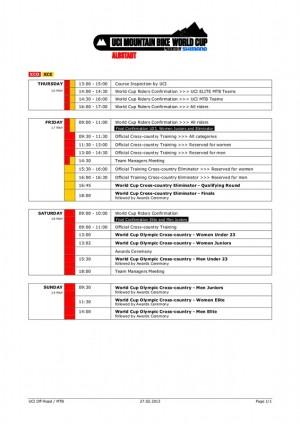 Zeitplan 2013 Albstadt