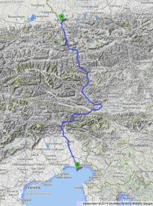Bild: Der Alpe Adria Radweg führt vom österreichischen Salzburg über die Alpen bis zu Grado in Italien an der Adria. Bildquelle: Google.