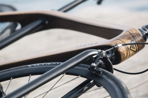 A detail of the new Tratar Bikes wooden bicycle pictured at Bled, Slovenia