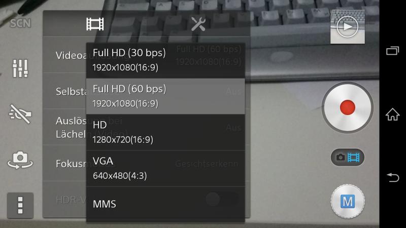 Auswahl Videoauflösung