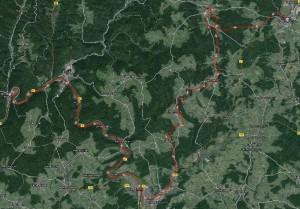 Strecke von Buchen nach Hirschhorn