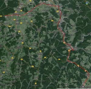 Strecke von Roßdorf nach Buchen