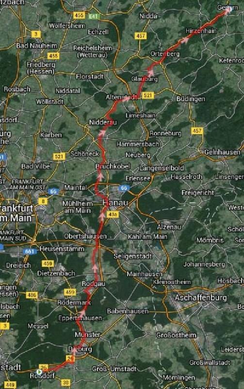 Strecke Roßdorf - Gedern