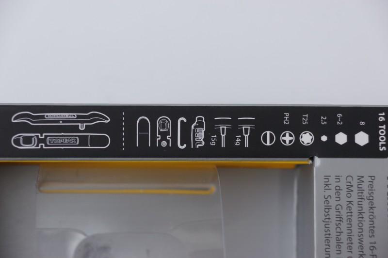 Verpackung zeigt die einzelnen Funktionen