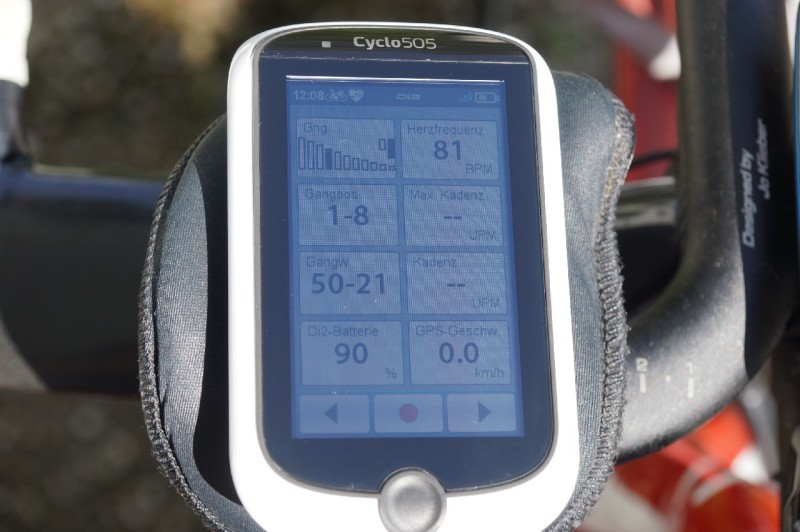 Anzeige auf dem Cyclo 505