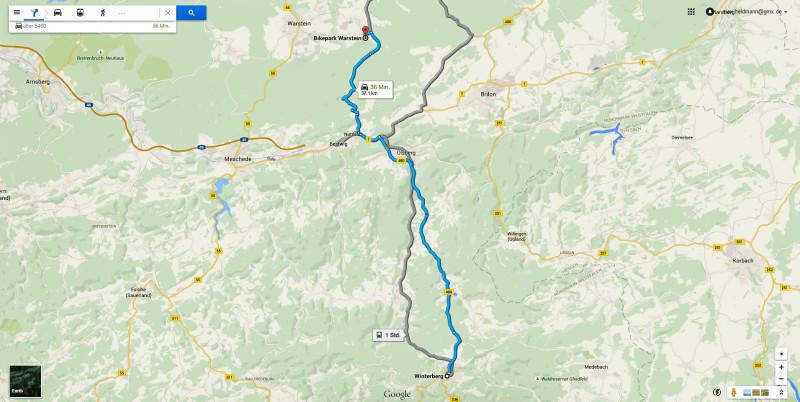 Hier noch einmal die Route von Winterberg Richtung Warsteiner Bikepark