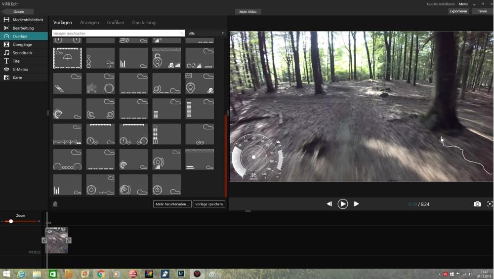Mit der hauseigenen Software von Garmin lassen sich mit vorgefertigten Overlays die Daten ins Video einfügen, top!