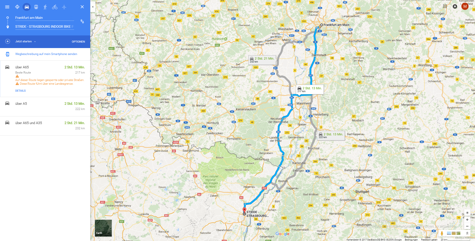 Angenehm zu fahren - ca 200 Km Anfahrt ausgehend von Frankfurt